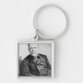 Louis Pasteur Llavero Cuadrado Plateado