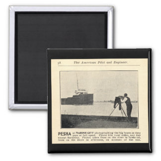 Louis Pesha Photographing the Big Boats 2 Inch Square Magnet