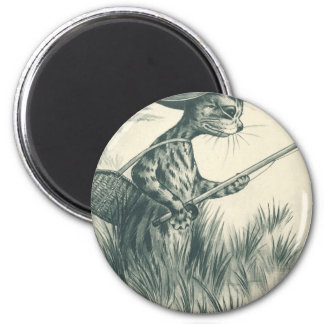 Louis Wain Artwork -- Gone Fishing Cat 2 Inch Round Magnet