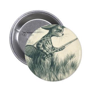Louis Wain Artwork -- Gone Fishing Cat Pinback Buttons