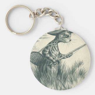 Louis Wain Artwork -- Gone Fishing Cat Keychains