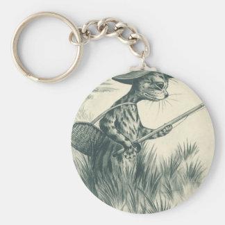 Louis Wain Artwork -- Gone Fishing Cat Basic Round Button Keychain