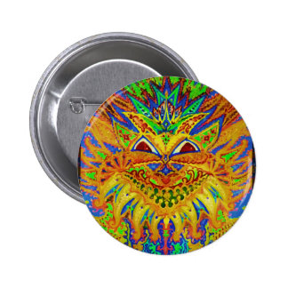 Louis Wain - Blue Paisley Cat Pinback Buttons