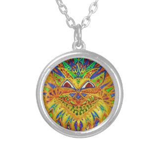 Louis Wain - Blue Paisley Cat Round Pendant Necklace