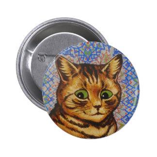 Louis Wain Brown Wallpaper Cat Artwork Pinback Buttons