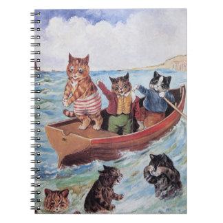 Louis Wain - canotaje antropomorfo de los gatos en Note Book