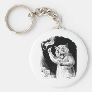 Louis Wain Cat Artwork Dr. Quack Basic Round Button Keychain