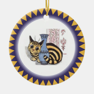 Louis Wain Cat Behind a Vase Artwork Double-Sided Ceramic Round Christmas Ornament