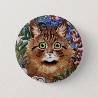 Louis Wain Cat Button, Vintage Cat in Garden Button