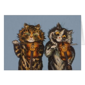 Louis Wain - Cat Violinists - Anthropomorphic Art Card