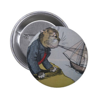 Louis Wain Cat with a Sailboat Artwork Pinback Button