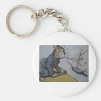 Louis Wain Cat with a Sailboat Artwork Basic Round Button Keychain
