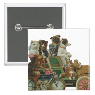 Louis Wain Cats and Dogs in Antique Car Button