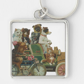 Louis Wain Cats and Dogs in Antique Car Keychain