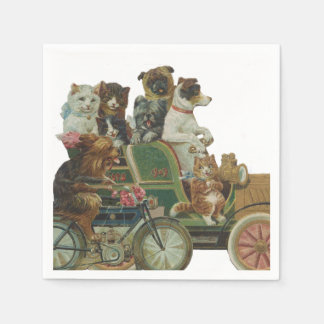 Louis Wain Cats and Dogs in Antique Car Paper Napkin