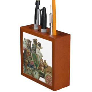 Louis Wain Cats and Dogs in Antique Car Pencil/Pen Holder