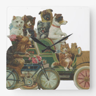 Louis Wain Cats and Dogs in Antique Car Square Wall Clock