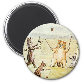 Louis Wain Cats on a Beach Artwork 2 Inch Round Magnet