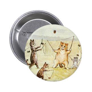 Louis Wain Cats on a Beach Artwork Pinback Buttons