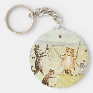 Louis Wain Cats on a Beach Artwork Basic Round Button Keychain
