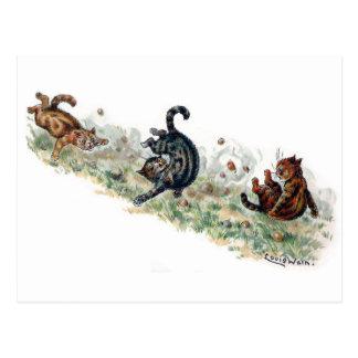 Louis Wain Cats Take a Tumble Postcard