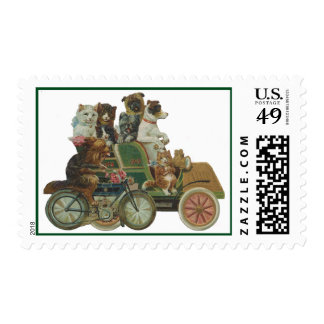 Louis Wain Dogs and Cats in Antique Car Postage