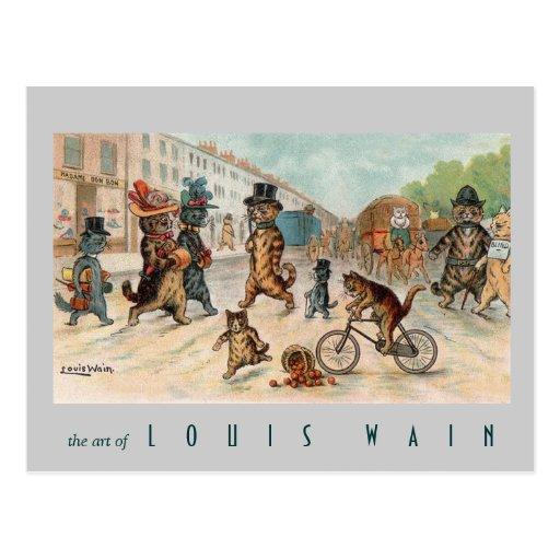 Louis Wain - gatos de la ciudad - arte del vintage Postal