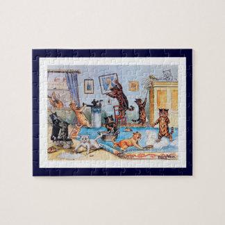 Louis Wain - gatos en un Binge de salto limpio Puzzle Con Fotos