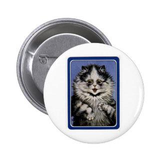 Louis Wain Gray Cat Artwork Pin