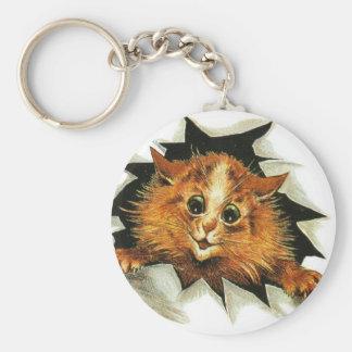 Louis Wain Ice Cat Artwork Basic Round Button Keychain