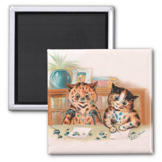 Louis Wain Kitten Writers With Inky Paws 2 Inch Square Magnet