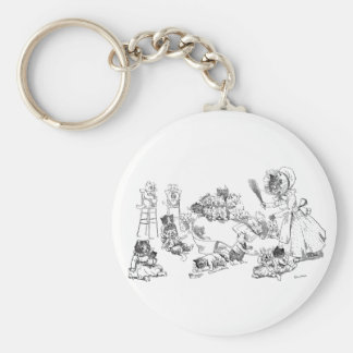Louis Wain Old Cat in Shoe Nursery Rhyme Basic Round Button Keychain