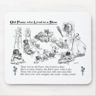 Louis Wain Old Cat in Shoe Nursery Rhyme Mouse Pad