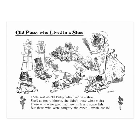 Louis Wain Old Cat in Shoe Nursery Rhyme Postcard