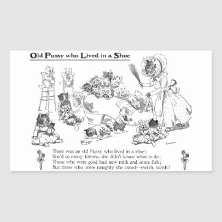 Louis Wain Old Cat in Shoe Nursery Rhyme Rectangle Stickers