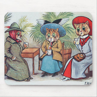 Louis Wain - Three Victorian Cats Sipping Drinks Mouse Pad