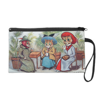 Louis Wain - Three Victorian Cats Sipping Drinks Wristlet