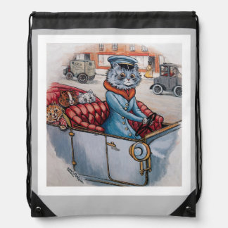 Louis Wain - Victorian Cat and Kittens Drawstring Backpack