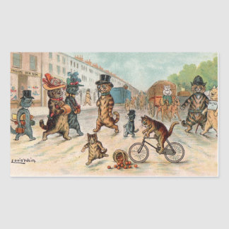 Louis Wain - Victorian Town Cats Rectangular Sticker