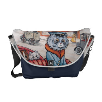Louis Wain - Vintage Cat and Kittens Go to Town Messenger Bags