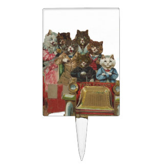 Louis Wain - White Cat Driving Antique Car Cake Topper