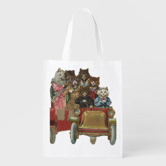 Louis Wain - White Cat Driving Antique Car Grocery Bags