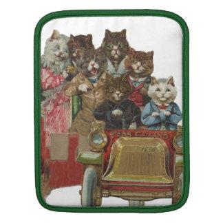 Louis Wain - White Cat Driving Antique Car iPad Sleeves