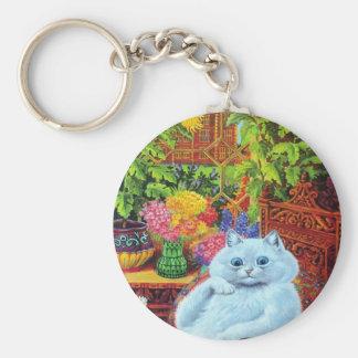 LOUIS WAIN - White Cat in Garden Study Basic Round Button Keychain
