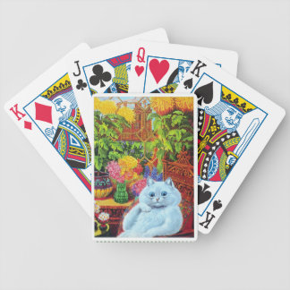 Louis Wain - White Cat in the Greenhouse Bicycle Playing Cards