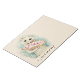 Louis Wain White cat with a fan CC0038 Notepad