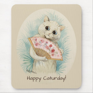 Louis Wain White cat with a fan CC0074 Mouse Pad