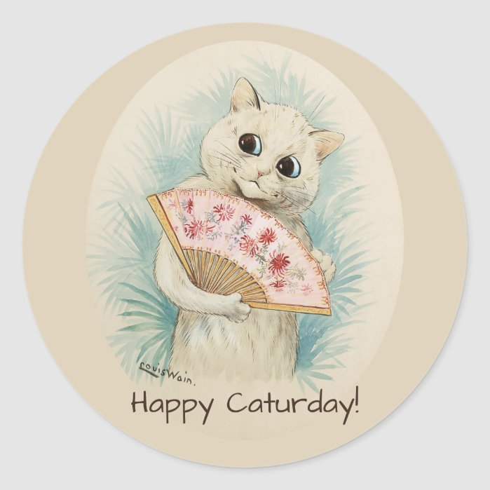 Louis Wain White cat with a fan CC0388 Classic Round Sticker