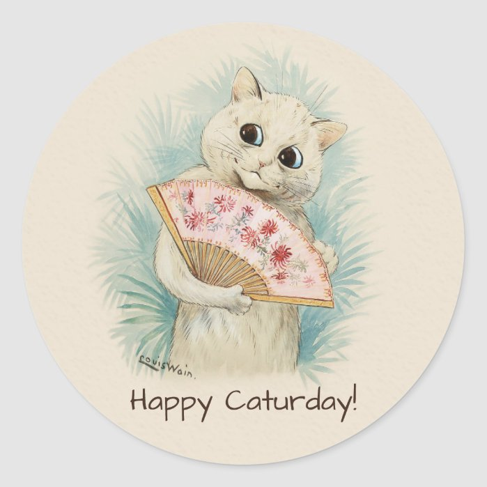 Louis Wain White cat with a fan CC0707 Classic Round Sticker