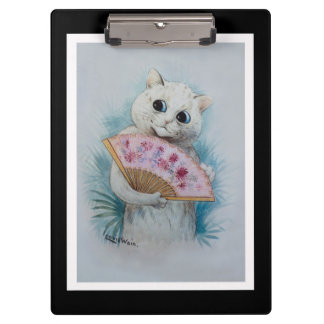Louis Wain White Cat with Pink Fan Clipboards